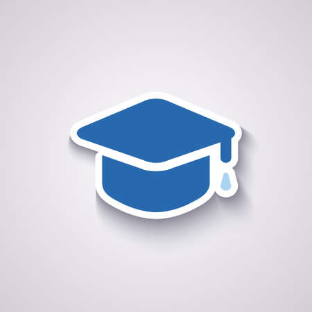 credential: graduation cap icon in blue colors with shadow Illustration