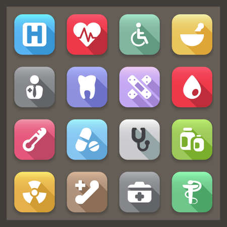 radiotherapy: flat icons for medicine. 14 colors Illustration
