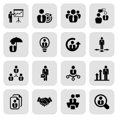business partnership: icon set in black with a square for business Illustration