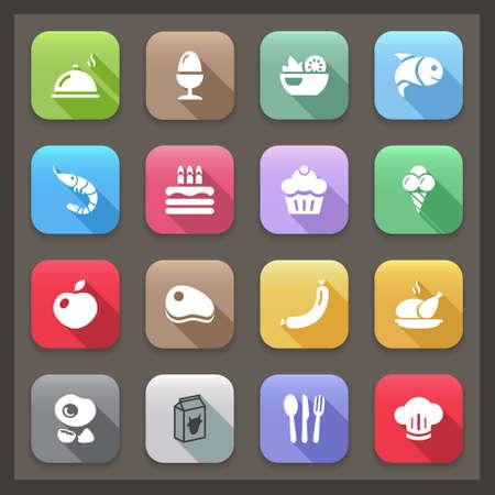 vlakke pictogrammen voor restaurant eten en in 14 kleuren. met schaduw.
