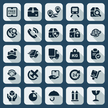 flat icons set for the transportation industry and trade in black and shaded