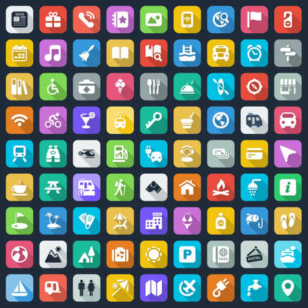 information icon: icons set for travel, vacation and camping. colorful Illustration