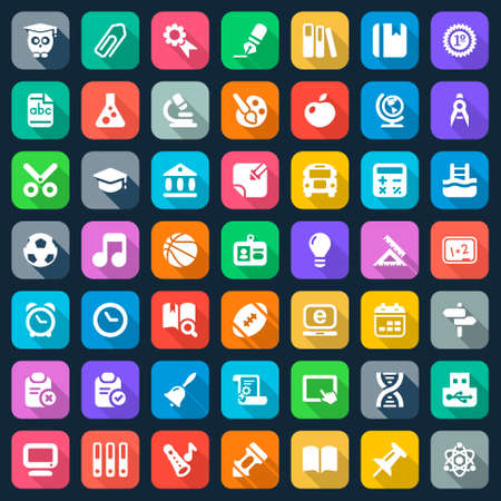 set of education and school flat icons, colorful