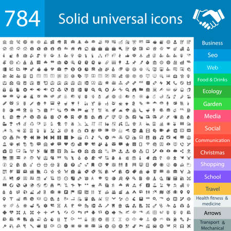 784 universal black icons for: business, finance, web, computer, shopping, social media, travel, camping, school, education, medicine, health, fitness, food and drinks, transportation and delivery, office, ecology, seo, christmas, mobile, arrows, auto and Vettoriali