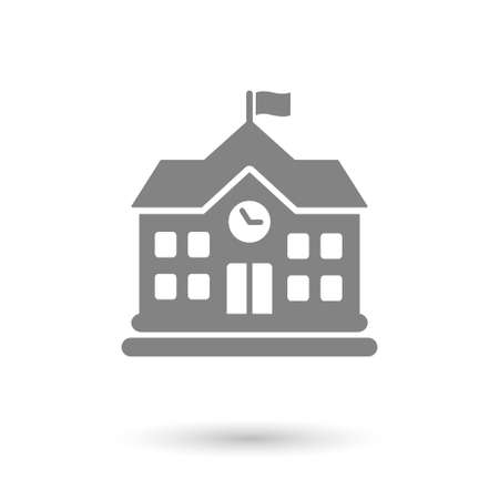 town: flat school icon isolated. gray color with shadow