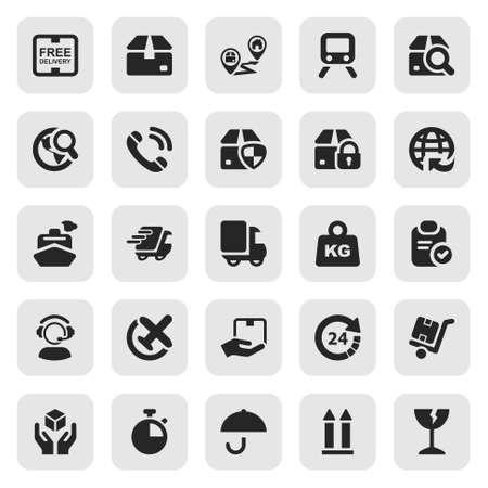 servicio al cliente: conjunto de iconos aislados para la logística en negro y cuadrado