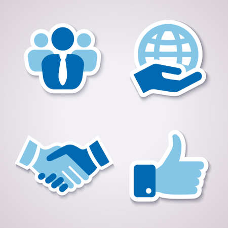 transnational: four icons isolater for business in blue colors with shadow