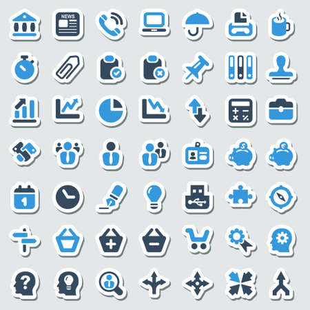 icon set for office and business,sticker Vectores