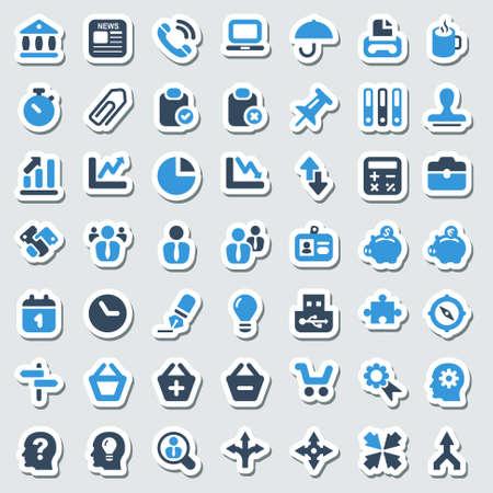icon set voor kantoor-en zakelijke, sticker Stock Illustratie