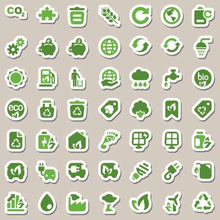 reciclar: conjunto de iconos de la ecología y la industria del medio ambiente, aislado y etiqueta