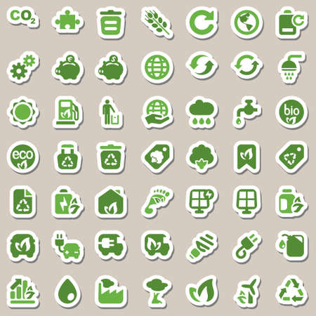 set of icons for ecology and environmental industry, isolated & sticker Vettoriali
