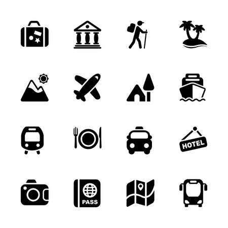 destinations: travel and destinations icon set in black