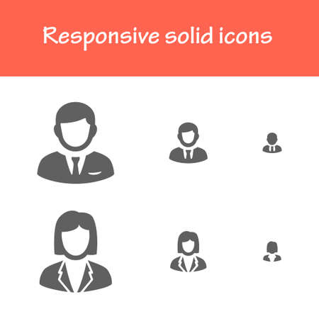 vrouw met tablet: responsive solid business man and business woman icons for computer, tablet and mobile interface
