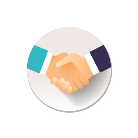 flat icon handshake. colorful with shadow, for business