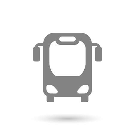 isolated on gray: flat bus icon with shadow isolated gray color