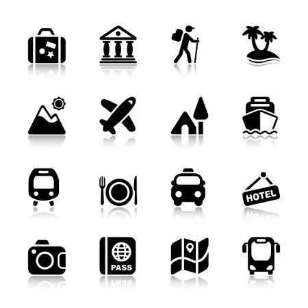 travel and destinations icon set in black
