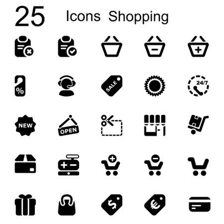 Basic Icons set for business and shopping in black Vector