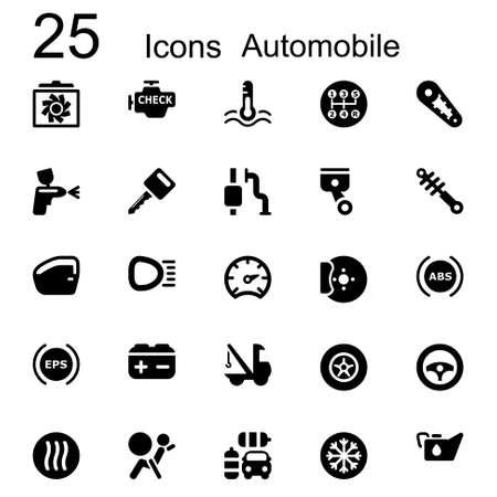 auto shop: Basic icon set in black automotive