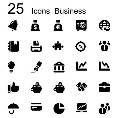 basic set of business icons in black