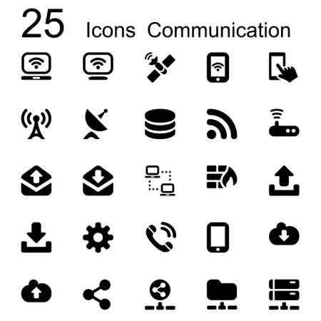 basic set of communication icons in black