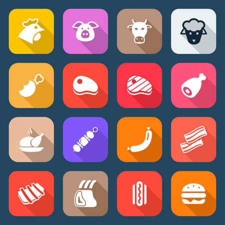 flat meat icons set isolated, colorful with shadow