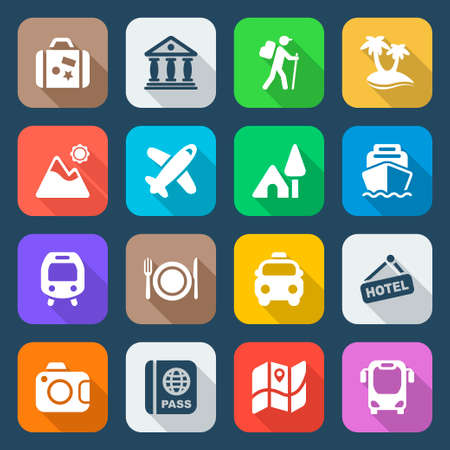 travel and destinations icon set in colors