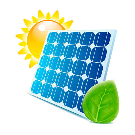 Blue solar panel with green leaf and sun icons isolated Illustration