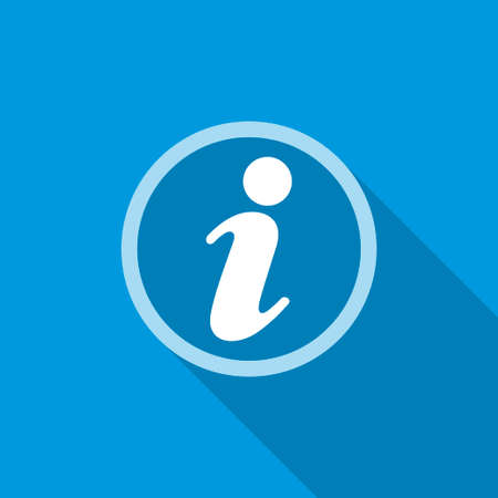 flat information icon with shadow. isolated, blue color  イラスト・ベクター素材