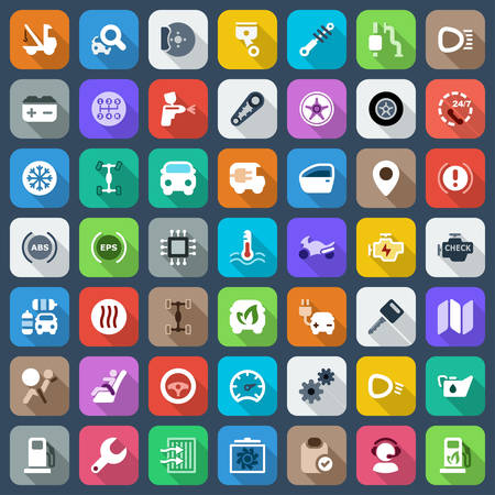 auto filter: set of icons auto parts industry and tranport,flat and colorful