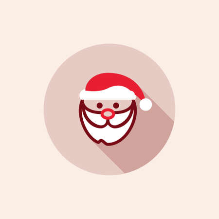 hat santa: flat christmas santa claus icon with hat, red color