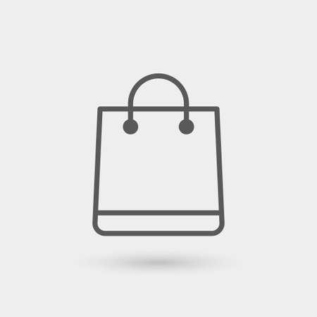 쇼핑 가방 아이콘,가는 선, 그림자와 함께 검은 색 일러스트
