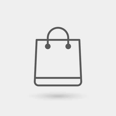 shopping bag icon, thin line, black color with shadow Illustration