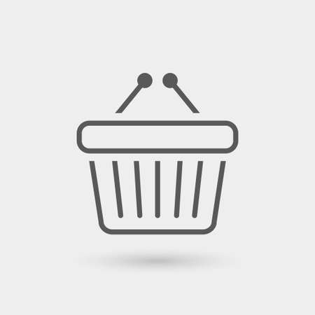 shopping icon: shopping basket icon, thin line, black color with shadow Illustration