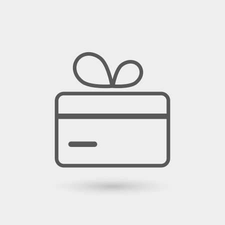 gift ribbon: gift card icon, thin line, black color with shadow Illustration