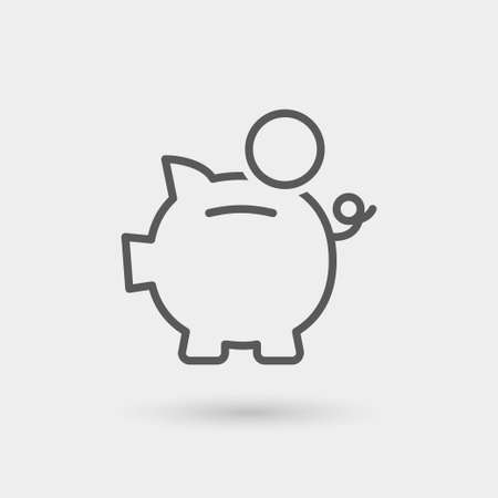 piggy bank icon, thin line, black color with shadow