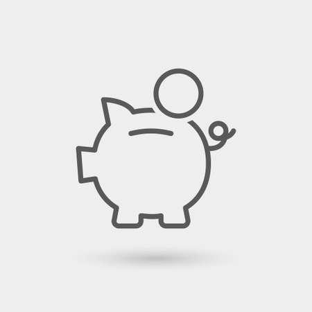 spaarpot icoon, dunne lijn, kleur zwart met schaduw Stock Illustratie