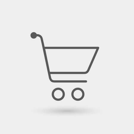 shopping cart thin line icon, black color, isolated