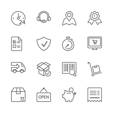 winkelen pictogrammen instellen, dunne lijn, kleur zwart Stock Illustratie