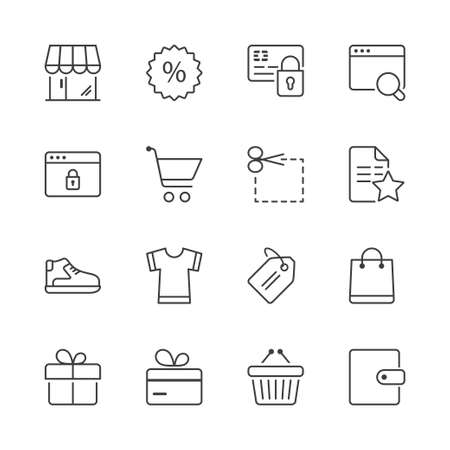 shopping icons set, thin line, black color