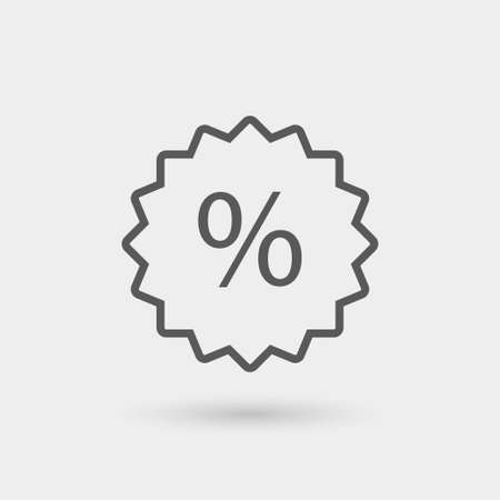 retail sales: discount label icon, thin line icon, black color with shadow Illustration