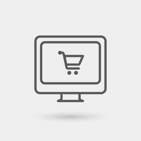 shopping online icon, thin line, black color with shadow Illusztráció