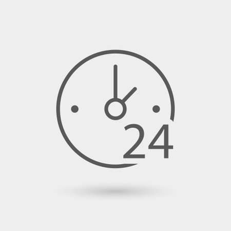 24 hours: clock 24 hours service icon, isolated, thin line