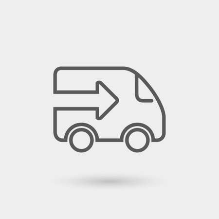 delivery icon, thin line, black color with shadow