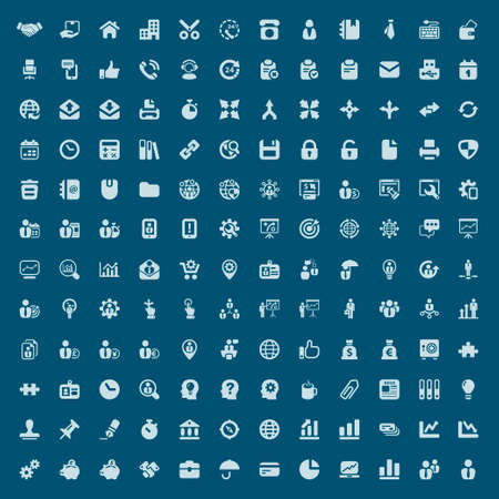set of isolated icons for business and office blue Illustration
