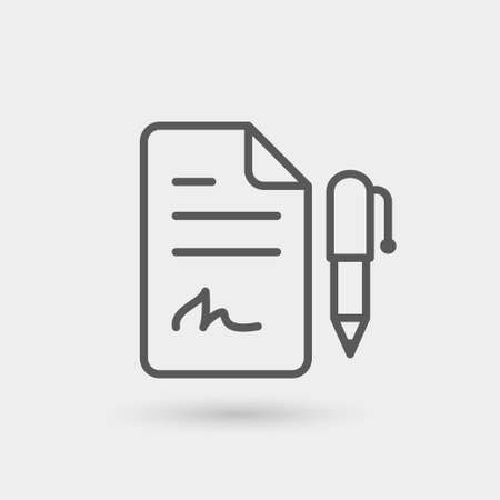 sign contract: contract icon isolated, thin line, black color with shadow Illustration