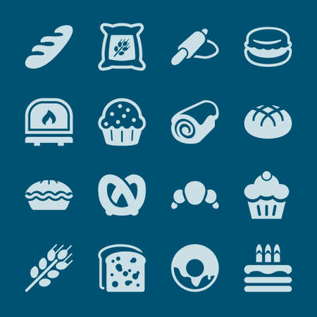 swiss roll: flat icon set for bakery, isolated, blue color