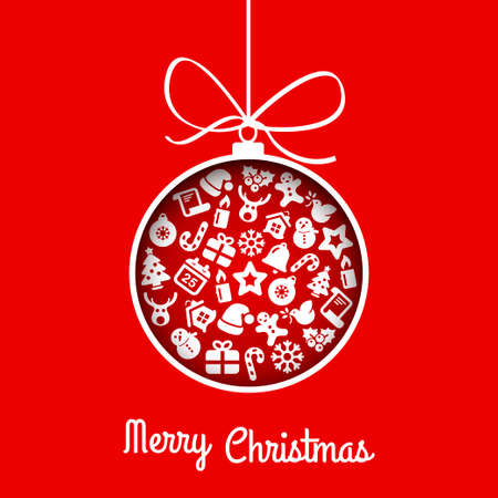 xmas background: flat christmas ball icon with necklake, red color