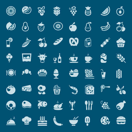 salad: Set of food and drinks solid icons in blue Illustration