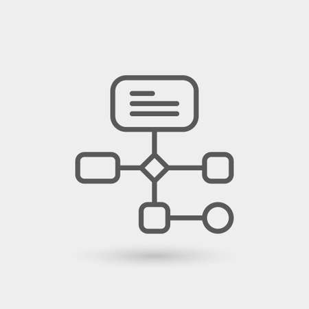 workflow icon isolated, thin line, black color with shadow Ilustração