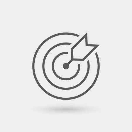 dartbord pictogram geïsoleerd, dunne lijn, kleur zwart met schaduw
